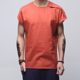 Wholesale linen shirt mens for sale - Group buy 4 Colors Short Sleeve Men Summer Shirt Streetwear Vintage Collarless Shirt Man FashionStyle Men Clothes Linen Mens Shirts XXXL