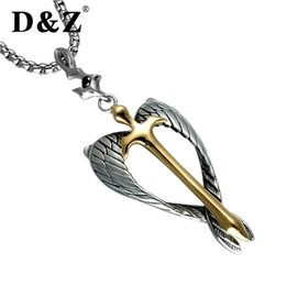 $enCountryForm.capitalKeyWord Australia - D&z Religious Gold Cross Pendant Necklace Stainless Steel Silver Angel Wings Soul Crucifix Necklaces For Christian Jewelry MX190730