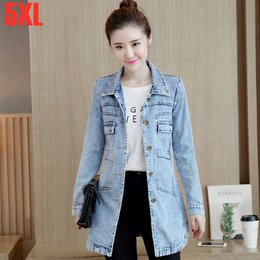 $enCountryForm.capitalKeyWord NZ - 5XL Spring Autumn Women Plus Size Slim long Jean Jacket Female Fashionable Windproof Casual High Street Style Denim Jackets Coat