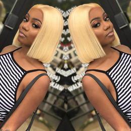 Chinese  Short Bob Wigs Brazilian Virgin Hair Straight Lace Front Human Hair Wigs For Black Women Swiss Lace Frontal Wig manufacturers