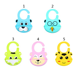 Discount waterproof silicone baby bibs - Waterproof Baby Silicone Cartoon animal Bibs Burp Cloths 2019 New Toddler Kids Adjustable Feeding Apron Saliva Bandana B