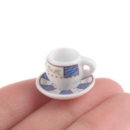 plastic furniture toy set NZ - 8pcs Dollhouse Miniature Porcelain Tea Cup Sets Mini Teapot Coffee Plate Play Kitchen Dining Tableware Toy