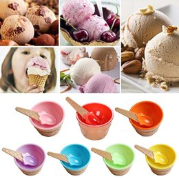 disposable ice cream bowls Australia - 1Pc Lovely Ice Cream Bowl With A Spoon Wonderful Gift Children Dessert Ice Cream Bowls Reusable Ice Cream Cup 7 Colors Bowls