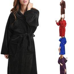 99c8be1a32 MoneRffi 2019 Autumn Winter Large Coral Velvet Robe Long Sleeve Flannel  Men s Women Flannel Bath Robe Pajamas Thick Bathrobe