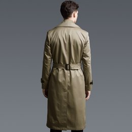 mens trench coat belts NZ - Fashion Mens Trench Double Breasted Windbreaker Maxi Long Coat Plus Size 6XL Khaki Euro Office Work Belt Overcoat