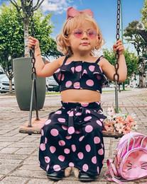 $enCountryForm.capitalKeyWord Australia - Toddler Baby Girls Clothes Polka Dot Tank Tops Crop+Ruffle Belt Long Maxi Skirts Dress Kids Clothes Girl Summer Outfit Set 2Pcs