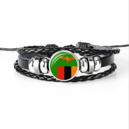 wholesale world cup football flags UK - Multilayer Genuine Leather Rope Beaded Bracelet Women Men Zambia National Flag World Cup Football Fan Time Gem Glass Cabochon Button Jewelry