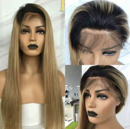 $enCountryForm.capitalKeyWord NZ - Ombre Honey Blonde Color 1B 27 Thick Glueless Full Lace Human Hair Wigs Brazilian Straight Lace Front Wig For Black Women