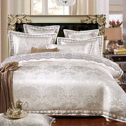 Duvet cream silk queen online shopping - Egyptian cotton Jacquard Silk Cotton Luxury Bedding Set King Size Queen Bed Set Lace Duvet Cover Bed Sheet Pillowcase
