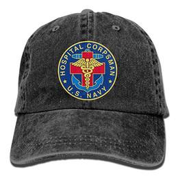 9e3cde294d64e2 2019 New Cheap Baseball Caps Print Hat Mens Cotton Washed Twill Baseball Cap  US Navy Hospital Corpsman Hat