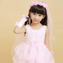 Newst White And Pink Flower Girl's Bridal Veil With Wreath Wedding Veil For Girls Cheap Price on Sale