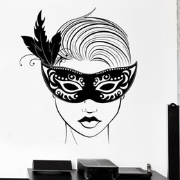 sexy halloween girls cartoons Australia - Carnival Mask Wall Decal For Living Room Masquerade Sexy Hot Girl Sexy Vinyl Wall Decal Decor Bedroom Nodic Home Decoration