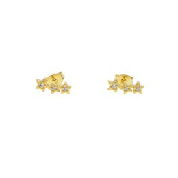 $enCountryForm.capitalKeyWord UK - Authentic 925 Sterling Silver Sparkling CZ three pieces Stars Stud Earrings for Women tiny sweep wrap earring Jewelry Gift 2019