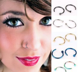 $enCountryForm.capitalKeyWord NZ - New Nose Rings Body Piercing Jewelry Fashion Jewelry Stainless Steel Nose Hoop Ring Earring Studs Fake Nose Rings Non Piercing Rings