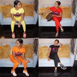 Big orange footBall online shopping - Womens Long Pants Tracksuit Big Eye Print Piece Outfits Casual Eye Sequins Round Neck Short Sleeve Sportswear Set Designer Clothes C41704