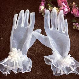 $enCountryForm.capitalKeyWord Australia - Korean bride gloves white short mesh yarn flowers ruffled finger wedding gloves wedding wedding