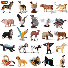 Discount white boys toys - heap Action & Toy Figures Oenux Wild Animals Leopard Model Action Figure Birds Dog Cow Pig Horse Wolf Figurines Cute