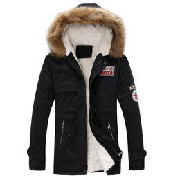 Jackets Big Collars Pattern Australia - Men 'S Thick Warm Winter Down Coat Fur Collar Army Green Men Parka Big Yards Long Cotton Coat Jacket Parka Men