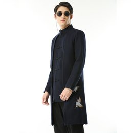 Chinese embroidered Coats online shopping - 2019 Chinese Retro Style Mens Embroidered Coat Black Navy Blue Classic Youth Men Business Wedding Banquet Dress Jacket