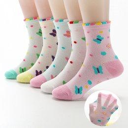 $enCountryForm.capitalKeyWord Australia - 2019 New Spring Summer 5 Pairs Girls Socks Mesh Cotton Bow Beautiful Wavy Mesh Breathable Socks Kids Socks For Girls 3-12 Year