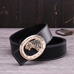 glitter belts NZ - Diamond tiger animal men casual personalized designer belt new fashion luxury glittering 3d smooth buckle 5 colors