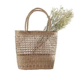 Handmade Totes Bags Australia - Fashion Hollow Hand-woven Bag Seaweed Handbag Straw Woven Storage Bag Beach Totes Handmade Traditional Crafts Basket Women Bag