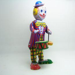 Figure Walk Australia - [TOP] Classic collection Retro Clockwork Wind up Metal Walking Tin Toy Drumming Clown drummer Robot Mechanical toys kids gift
