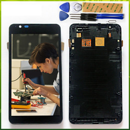Discount xperia e4g - No Dead Pixels LCD Display For SONY Xperia E4G E2003 E2033 Touch Screen Digitizer Sensor Assembly Parts with frame Free