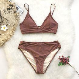 $enCountryForm.capitalKeyWord Australia - Cupshe Brown Lace-up Bikini Sets Women Triangle Mid Waist Two Pieces Swimsuits 2019 Girl Plain Beach Bathing Suit Swimwear Y19062701