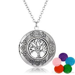 "$enCountryForm.capitalKeyWord Australia - Women Fashion Jewelry Charm Necklaces Tree Of Life Pendant Essential Oil Diffuser Locket Necklace Gift 23.62""Adjustable Chain 5 Pads B407Q F"