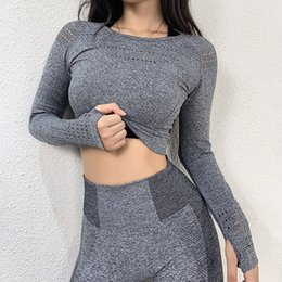 sport traning UK - Cropped Yoga Tops Sports Shirts Gym Top Fitness Clothes For Women Thumb hole T-shirts Traning Tops Trackshirts Femme Jersey