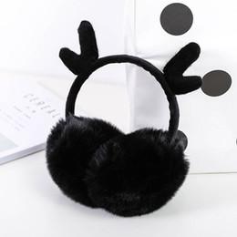 Pink Ear Muffs Wholesale NZ - Ear Muffs Winter Warmers Cute Antlers Flannel Fur Earwarmers Outdoor For Women Girls Gift Cover Ear 1 PC