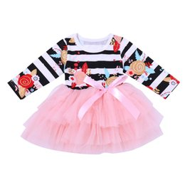 Discount newborn baby girl wedding dress - 2019 Newborn Infant Kid Baby Girl Flower Bow Lace Dress Long Sleeve Tulle Tutu Dress Princess Party Wedding Gown Wholesa