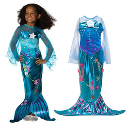 8bc2ae26 Girls Ariel Cosplay Costume Children The Little Mermaid Dress Transparent  Long Sleeve Kids Halloween Party Fancy Sequined Gown