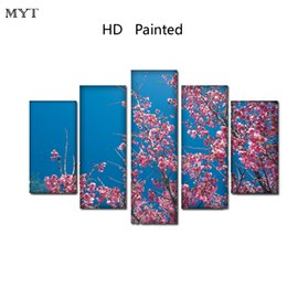 Canvas Print Images NZ - No framed HD Printed Paintings Spray prints image Canvas Wall Art pictures 5 pieces Plum blossom flowers scenery For living room Home Decor