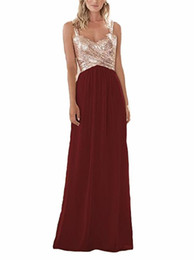 $enCountryForm.capitalKeyWord UK - Spaghetti Straps Bridesmaid Dresses with Rose Gold Sequins Top 2020 Chiffon Skirt Party Dresses Floor Length Formal Gowns