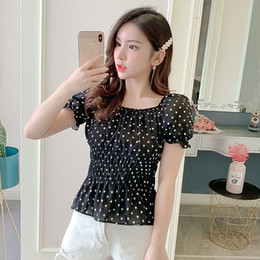 polka dot vintage shirt NZ - Sisjuly Vintage Women Shirts Summer Pleated Backless Polka Dots Short Sleeve Fashion Cute Female Vintage Shirts New 2019 J190614