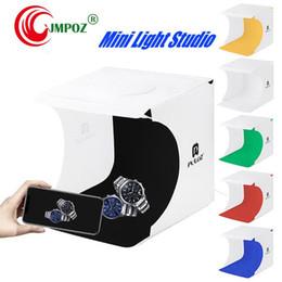 Portable backdroPs online shopping - Mini Photo Studio Box LED Panels Photography Backdrop Lightbox Built in Light Photo Box Camera Portable Folding Photography Studio