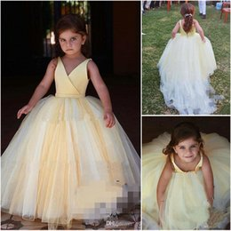 unique christening dresses girls 2019 - 2019 Wholesale Unique Yellow And White Flower Girl Gowns Tulle V Neckline Backless Ball Gown Girls Party Dresses On Sale