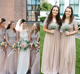 plus size shorts for under dresses Australia - Sexy Bling Champagne Bridesmaid Dresses For Weddings Guest Dress Sequined Top Tulle Short Sleeves Plus Size Floor Length Maid of Honor Gowns