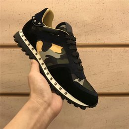 genuine leather fabric yard NZ - Designer Brand sneakers real leather trainers white camouflage casual shoes Men Women genuine leather Shoes big yards \116