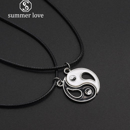 StainleSS Steel chi pendant online shopping - Hot Sale Black White Splice Gossip Pendant Necklace for Women Men Leather Rope Couple Tai Chi Yin Yang Necklace Fashion Jewelry Gift