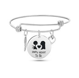 $enCountryForm.capitalKeyWord Australia - Nightmare Before Christmas bracelets For women Men Skull Round disc charm stainless steel Leaves Ghost Expandable Wire Bangle Jewelry gift