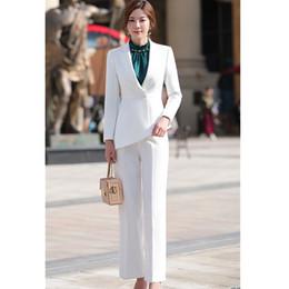 $enCountryForm.capitalKeyWord Australia - Women elegant pant suit slim fashion formal black white long sleeve symmetrical blazer with trousers office ladies suits 4XL