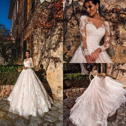 robe mariee vintage NZ - 2019 vintage a line wedding dresses lace appliques illusion long sleeves bridal gowns sweep train robe de mariee