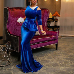 velvet african fashion dresses 2020 - Sexy Royal Blue South African Mermaid Evening Dresses Formal Prom Gowns Cold shoulder Long Sleeves Velvet Rhinestones Pa