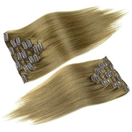 Clip Human Hair Extensions Remy 24 UK - Ash Brown double drawn virgin remy human hair extension seamless clip in hair