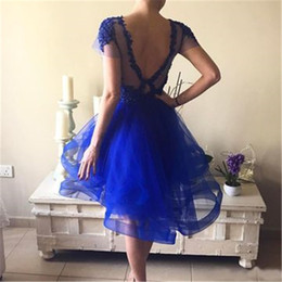$enCountryForm.capitalKeyWord Australia - royal blue Ruffle Plus Size Formal Cocktail Dresses Quality Sexy Short Tulle Flowers Cheap Backless Party Homecoming Dresses party dresses