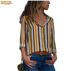striped printed blouse Australia - Office Striped Button Up Blouse Women Shirt Top Womens Tops And Blouses Plus Size 5Xl Long Sleeve Work Blouse Womens