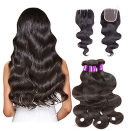 Discount body wave curly hair - Brazilian Malaysian Peruvian Virgin Hair Weaves 3 Bundles with Lace Closure Body Wave Curly 8A Indian Remy Human Hair Cl